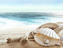 Pearl on board a ship. An open sea shell with a pearl inside on board a ship Royalty Free Stock Photo
