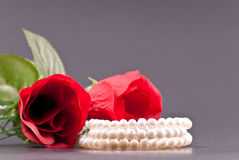 Pearl Bracelet with Roses Royalty Free Stock Photo