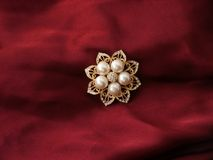 Pearl brooch. On burgundy display cloth royalty free stock photography