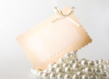 Pearl with card Stock Photo