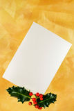 Pearl card with holly berries Stock Photography