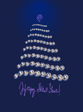 Pearl Christmas tree. Happy New Year card - pearl Christmas tree with text on bottom and glow top Royalty Free Stock Image