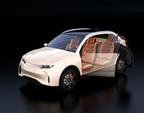 Pearl color Electric SUV interior on reflective ground. 3D rendering image Royalty Free Stock Photos