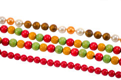 Pearl colorful wooden bead jewelry chain on white Stock Photo