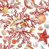 Pearl and coral seamless pattern. watercolor marine background stock illustration