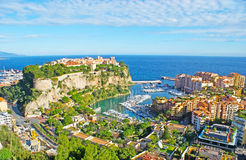 The pearl of Cote d`Azur. Monaco is the pearl of Cote d`Azur, it boasts scenic coastline, preserved old town on the Rock, two ports, famous Casino in Monte Carlo Stock Images