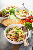 Pearl couscous salad with fresh vegetables Stock Images