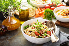 Pearl couscous salad with fresh vegetables Royalty Free Stock Photos