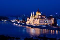 Pearl of the Danube. The building of the Hungarian Parliament (Országház - House of the Nation, in Hungarian) is one of the major landmarks of Budapest stock photo
