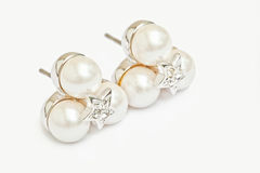 Pearl diamond earings Royalty Free Stock Photography