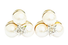 Pearl diamond earrings. Isolated on white royalty free stock images