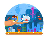 Pearl Diver Concept Background. Pearl diving concept illustration with scuba diver finding shell on seabed. Underwater world scene with snorkeler man searching Royalty Free Stock Image