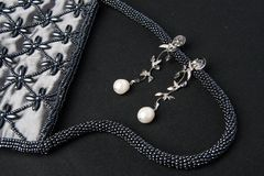 Pearl earing jewlery Royalty Free Stock Image