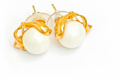 Pearl earring. Isolated on white Royalty Free Stock Photos