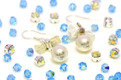 Pearl Earrings And Beads Stock Photos