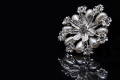 Pearl flower brooch Royalty Free Stock Photography