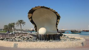 The Pearl fountain in Doha stock footage