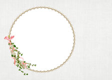 Pearl frame with floral twig Royalty Free Stock Image