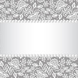 Pearl frame on lace background Stock Images