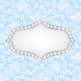 Pearl frame on lace background Stock Photo