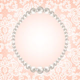 Pearl frame on lace background royalty free illustration