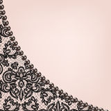 Pearl frame on lace background Royalty Free Stock Images
