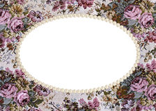 Pearl frame on tapestry Stock Images