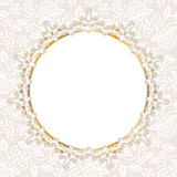 Pearl frame on white lace background Stock Photo