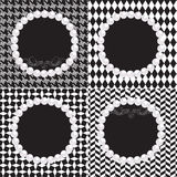 4 Pearl Frames Black White Patterns with Scroll. 4 pearl frames with black and white seamless patterns including diamond, houndstooth, herringbone, retro yet Stock Photography