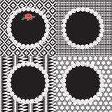 4 Pearl Frames Black White Patterns. 4 pearl frames with black and white seamless patterns including diamond, triangle, mayan brick knit, honeycomb and pomo Stock Image