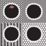 4 Pearl Frames Black White Patterns Stock Image