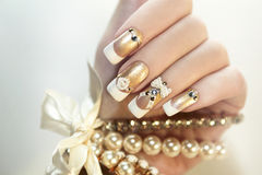 Pearl French manicure. Royalty Free Stock Image