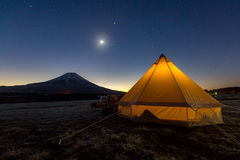Pearl Fuji. Moon rise at mountain fuji, Japan Royalty Free Stock Photo
