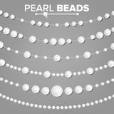 Pearl Garlands Vector. Glamour Pearls Vintage Accessories Necklace. Elegant Luxury Decoration Illustration. Pearl Beads Set Vector. 3D Realistic Shiny White Royalty Free Stock Photo