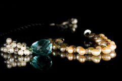 Pearl and gem necklace Royalty Free Stock Photos
