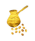 Pearl gold Turkish coffee pot and coffee beans on white background Royalty Free Stock Images