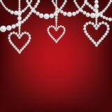 Pearl hacklace and heart Stock Images