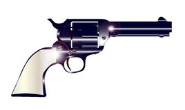 Pearl Handled Revolver. A wild west revolver in gunmetal blue and pearl handle vector illustration