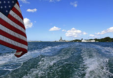 Pearl Harbor, Hawaii. USS Arizona memorial is seen at RIGHT and USS Missouri seen at LEFT Stock Images