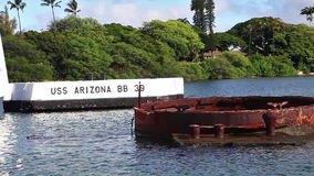 Pearl Harbor Arizona memorial. HONOLULU, OAHU, HAWAII, USA - AUGUST 21, 2016:USS Arizona BB 39 Memorial at Pearl Harbor. Sunken during the Japanese surprise stock footage