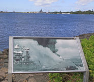 Pearl Harbor, Hawaii. Plaque shows picture of the bombing  attack on Pearl Harbor as the battleship Missouri and the Stock Images