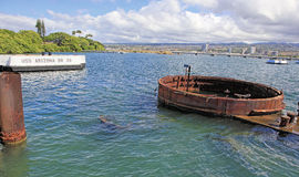 Pearl Harbor, Hawaii. The USS Arizona Memorial was dedicated on Memorial Day 1962. It is built over the  remains of the sunken battleship USS Arizona Royalty Free Stock Image