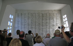 Pearl Harbor, Hawaii. The USS Arizona Memorial List of Names of all those killed on Dec. 7, 1941 is visited by many to pay their respects Stock Image