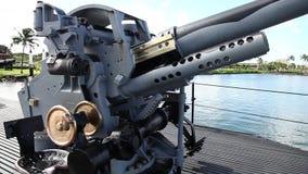 Pearl Harbor machine gun. HONOLULU, OAHU, HAWAII, UNITED STATES - AUGUST 21, 2016: machine gun of the USS Bowfin Submarine SS-287 at Pearl Harbor memorial site stock video footage