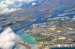Pearl Harbor in Oahu,Hawaii. Aerial View of Pearl Harbor and International Airport in Oahu, Hawaii Stock Image