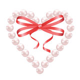 Pearl heart with bow Stock Image