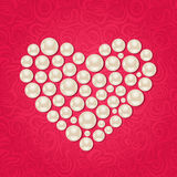 Pearl Heart on Pink Background Royalty Free Stock Images