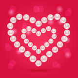 Pearl Heart on Pink Valentaine Day Background Royalty Free Stock Photography