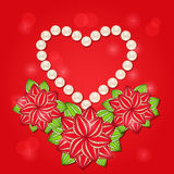 Pearl Heart with Red Flowers Royalty Free Stock Images