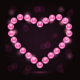 Pearl Heart Silhouette Valentaine Day Card Royalty Free Stock Photography
